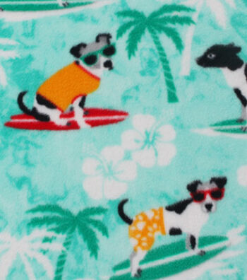 Anti-Pill Fleece Fabric 59''-Surfing Dogs
