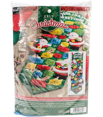 "Santa Advent Calendar Felt Applique Kit 9""X34"""