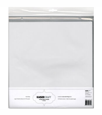 Kaisercraft D-Ring Album Page Protectors Top-Loading With White Inserts