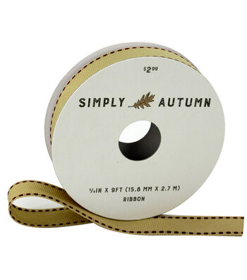 Simply Autumn Ribbon 5/8''x9'-Natural with Burgundy Stitch