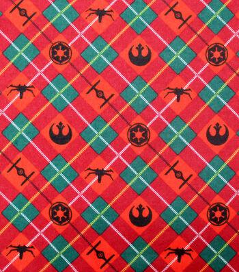 Disney Christmas Star Wars Flannel Fabric-Holiday Plaid
