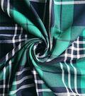 Perfectly Plaid Rayon Fabric 54\u0022-Green Black White
