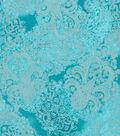 Premium Quilt Cotton Fabric 43\u0022-Paisley Teal Pearl