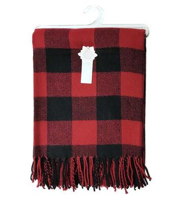 Christmas Cuddly Blanket Scarf-Red & Black Buffalo Checks