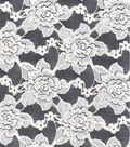 Rose Lace Cotton Nylon Spandex Fabric-Ivory