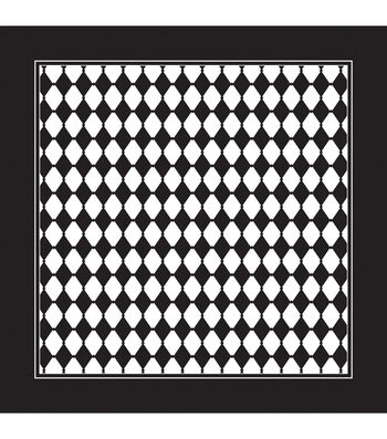 "Carolina Domestic Bandanna 22""X22""-Black/White Diamond"