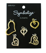 hildie & jo Symbolize 5 pk Heart Charms-Gold & Silver, , hi-res