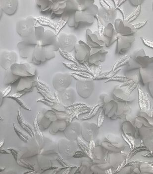 Save The Date Mesh Fabric 57''-Bright White Spring 3D Floral