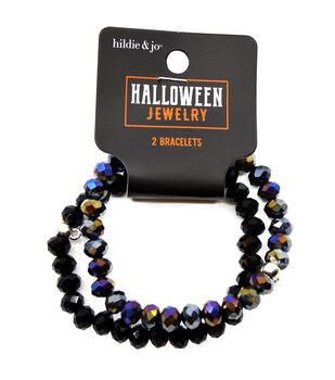 hildie & jo Halloween Jewelry 2 pk Crystal Stretchy Bracelets-Black