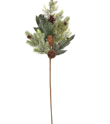 Blooming Holiday Christmas 18'' Mixed Greenery & Pinecone Spray
