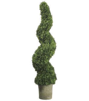 Spiral Cedar Topiary in Gray Pot 49''