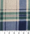 Luxe Fleece Fabric -Navy Green Oatmeal Heather Plaid
