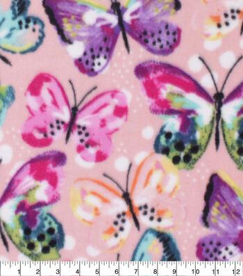 Anti-Pill Plush Fleece Fabric-Butterflies Multi