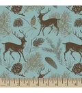 Snuggle Flannel Fabric -Deer Teal