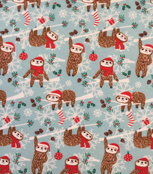 "Doodles Christmas Cotton Fabric 57""-Aqua Holiday Sloth"