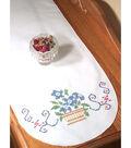Fairway Needlecraft 15\u0027\u0027x42\u0027\u0027 Perle Edge Dresser Scarf-Flower Basket