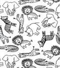 Nursery Cotton Fabric -Black & White Safari