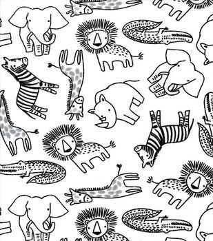Nursery Cotton Fabric-Black Safari on White