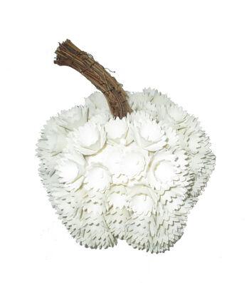 Simply Autumn Medium Plastic Woodchip Pumpkin-White