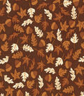 Fall Harvest Cotton Fabric- Packed Leaves And Acorns Brown