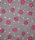 Premium Cotton Print Fabric -Metallic & Circle Waves on Gray