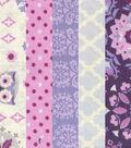 Fat Quarter Bundle Cotton Fabric 18\u0027\u0027-Owls & Floral on Purple