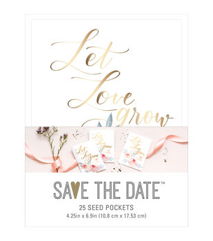 Save the Date 25 pk 4.25''x6.9'' Seed Pockets-Floral