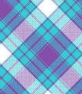 Blizzard Fleece Fabric -Aqua & Purple Annie Plaid