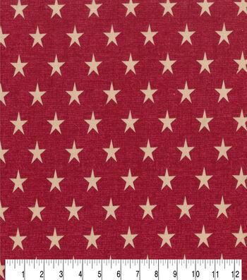 Patriotic Cotton Fabric 43''-Rustic Stars on Red
