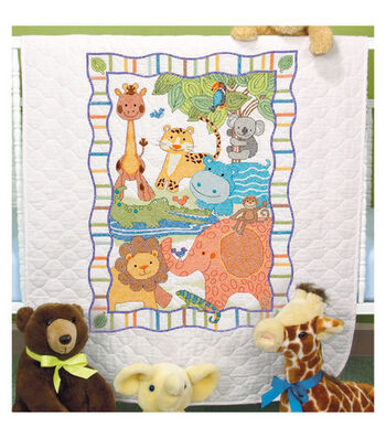 Dimensions Baby Hugs Mod Zoo Quilt Stamped Cross Stitch Kit