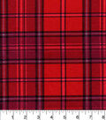 Snuggle Flannel Fabric -Red Ground Grey Plaid