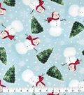 Snuggle Flannel Fabric-Happy Snowman And Trees