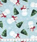 Snuggle Flannel Christmas Fabric-Happy Snowmen & Trees