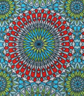 Anti-Pill Fleece Fabric 59\u0022-Red Teal Medallions