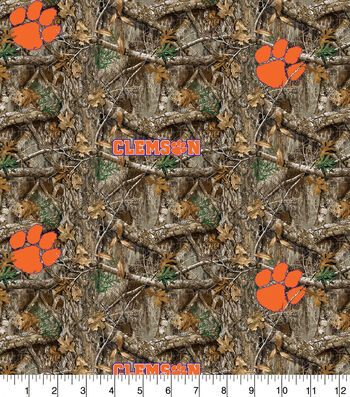 "Clemson Collegiate Realtree Cotton Fabric 42""-Camo & Logo"