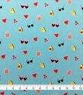 Doodles Cotton Spandex Interlock Knit Fabric-Blue Glitter Tossed Summer