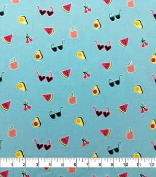 Doodles Cotton Spandex Interlock Knit Fabric-Blue Glitter Tossed Summer