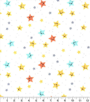 Nursery Flannel Fabric-Happy Stars