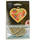 Cross Stitch Style 4 Pack Wood Charms-Heart