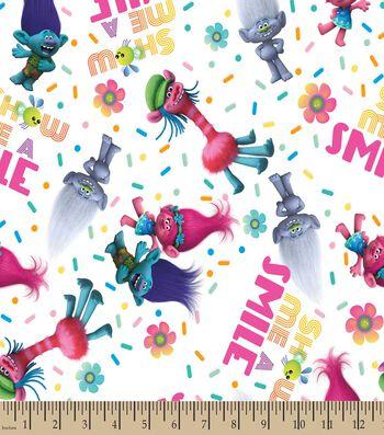 Trolls Show Me A Smile Print Fabric
