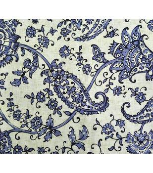 Amaretto Linen Fabric -Blue Floral on White