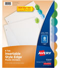 Avery Insertable Style Edge Plastic Dividers-8 Multicolor Tabs