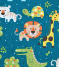 Snuggle Flannel Fabric -Baby Jungle Friends