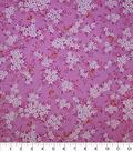 Premium Cotton Print Fabric -Pink & Metallic Floral Bouquet