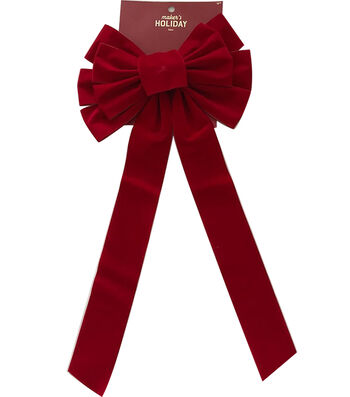 Maker's Holiday Christmas 10'' Veltex Bow-Red