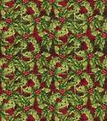 Christmas Cotton Fabric 43\u0022-Packed Holly Plaid