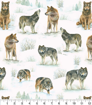 Super Snuggle Flannel Fabric-Photo Real Wolves