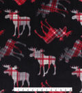 Anti-Pill Plush Fleece Fabric-Tossed Pattern Moose