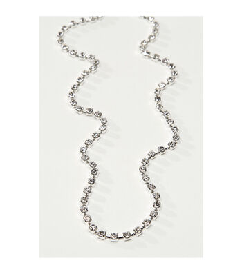 Darice 36'' Silver Cup Chain Necklace-Crystal Rhinestones