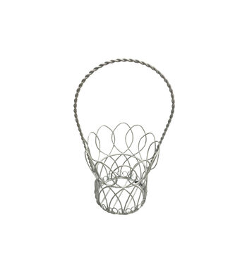 Easter 9'' Wire Basket-White